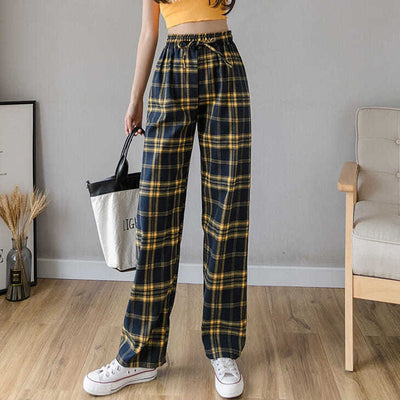 High Waist Plaid Loose Pants