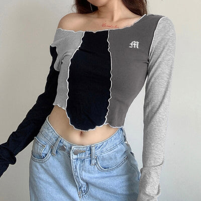 Patchwork Edge Long Sleeve O-Neck Letter Printed Crop Top