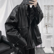 PU Leather Windbreaker Jacket