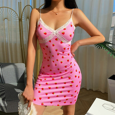 Strawberry Pink Lace Mini Dress