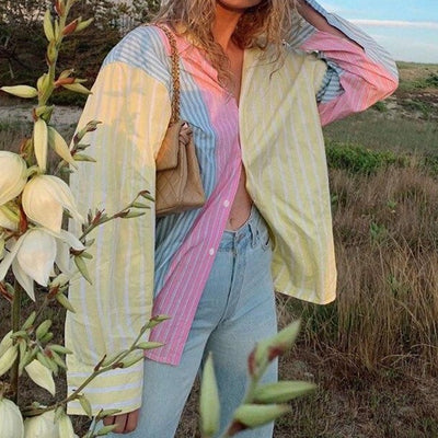 Rainbow Striped Patchwork Oversized Blouse