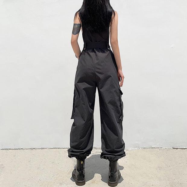 Baggy High Waist Black Cargo Jumpsuit