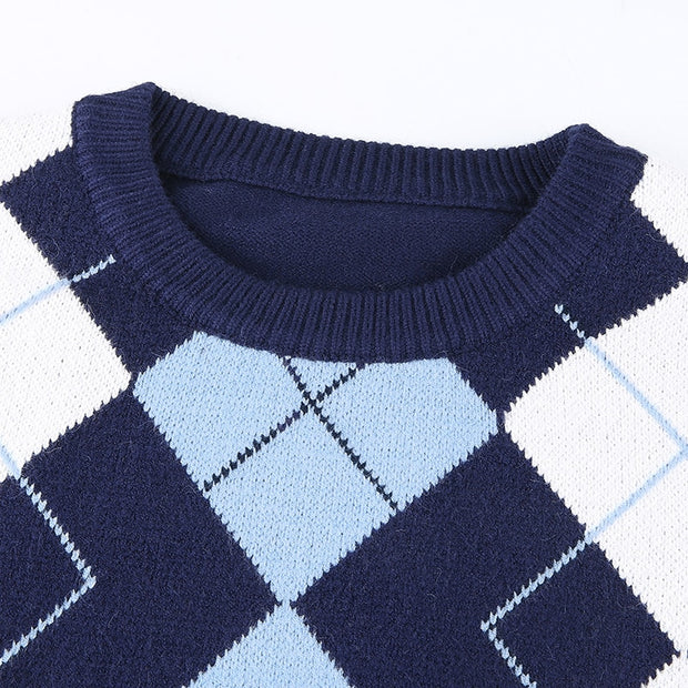 Argyle Geometric Knitted Sweater