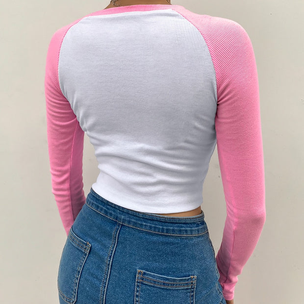 Contrast Crop Top Pink