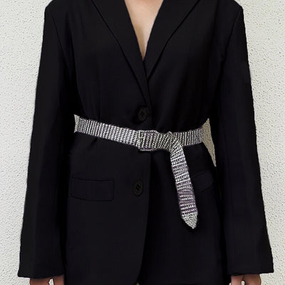 Notched Collar Oversized Long Suit Blazer