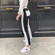 Black And White Patchwork High Waisted Trousers
