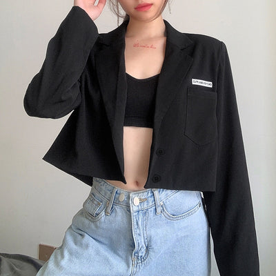Embroidered Notched Black Blazer