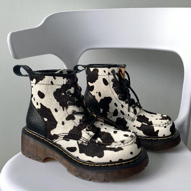 Vintage Cow Print Inner Suede Chunky Boots