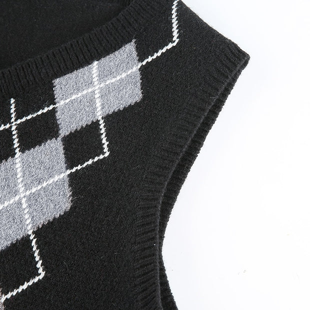 England Style Argyle Plaid Sweater
