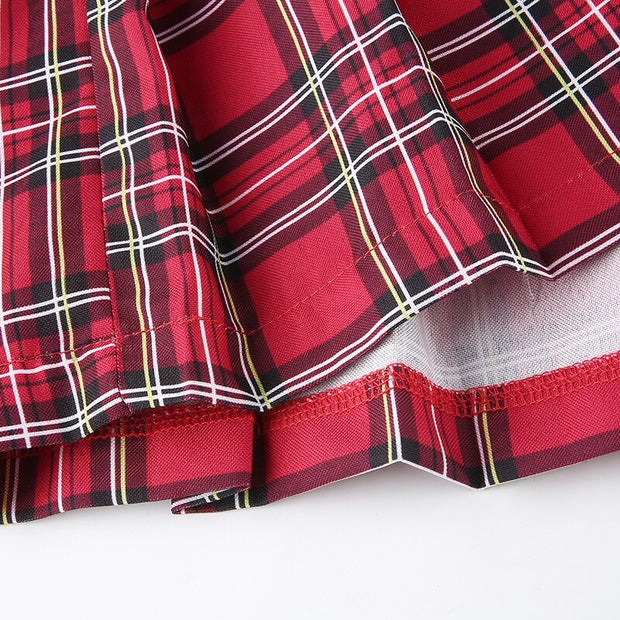 Vintage 90s Red Plaid Mini Skirt