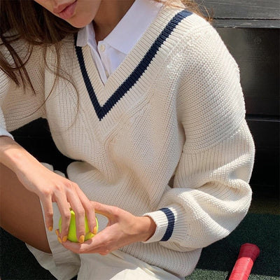 Preppy Style Panelled V Neck Sweater