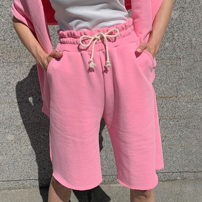 Casual Drawstring Cotton High Waist Pink Shorts