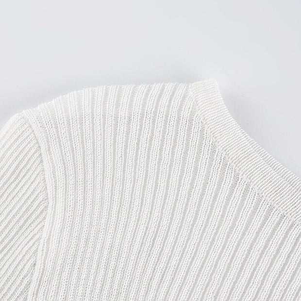 Knitted Long Sleeve Basic White Sweater