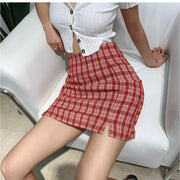 Retro Plaid Red Skirt