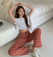 Plaid Straight Leg Pants