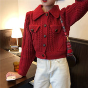 Collared Knitted Sweatshirt Cardigan