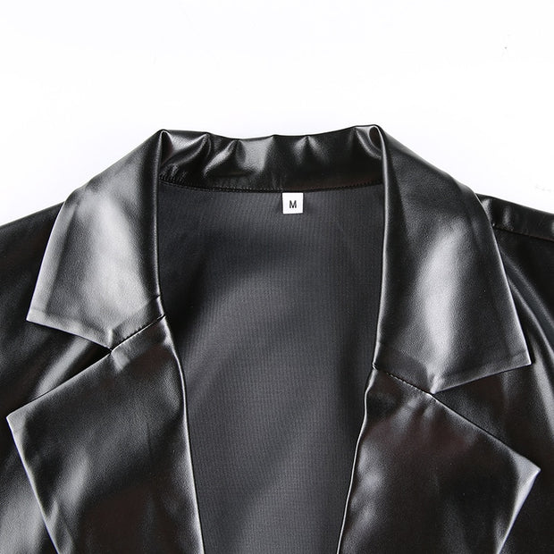Pu Black Oversized Leather Suit Blazer