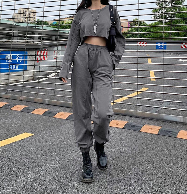 Crop Sweatshirt Top And High Waist Joggers Two Piece Set