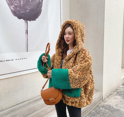 Leopard Print Hooded Faux Fur Pocket Jacket