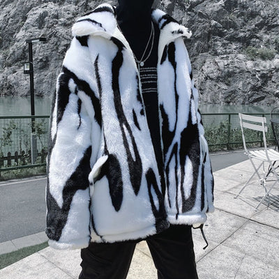 Retro Print Faux Fur Jacket