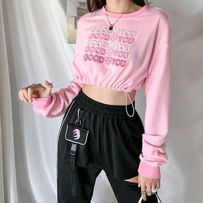Pink Drawstring Cropped Sweater Top