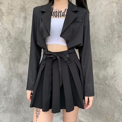 Long Sleeve Gothic Notched Blazer