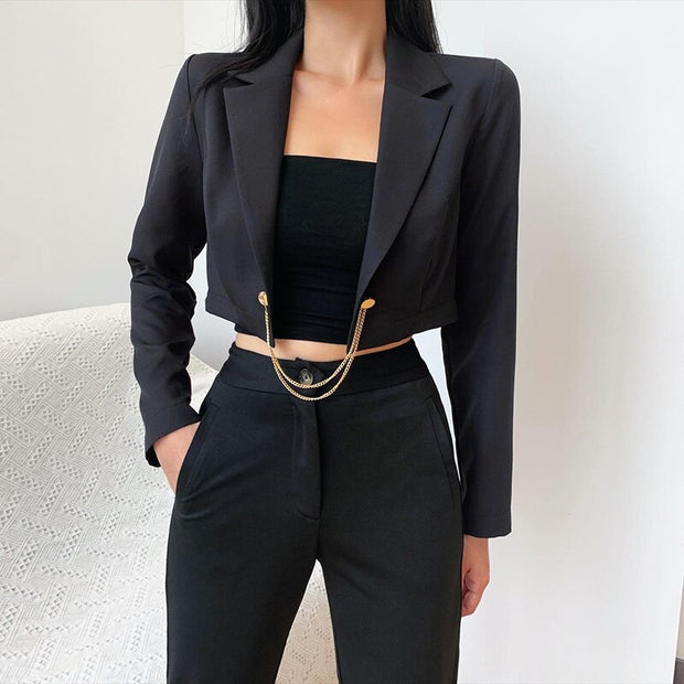 Long Sleeve Blazer Cropped Jacket