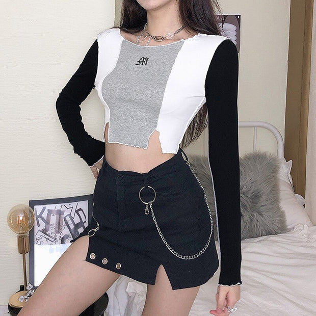 Slim Patchwork Long Sleeve Crop Top