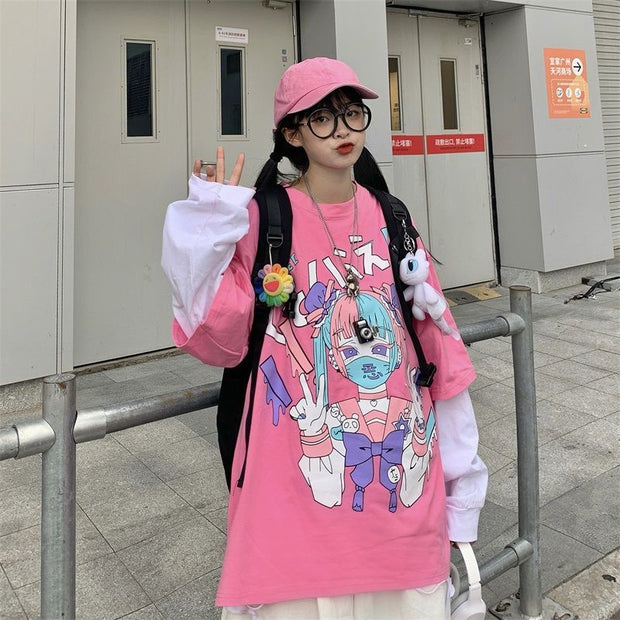 Long Sleeve Gothic Harajuku Cotton Oversized Top