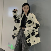 Cow Print Oversized Blazer Jacket