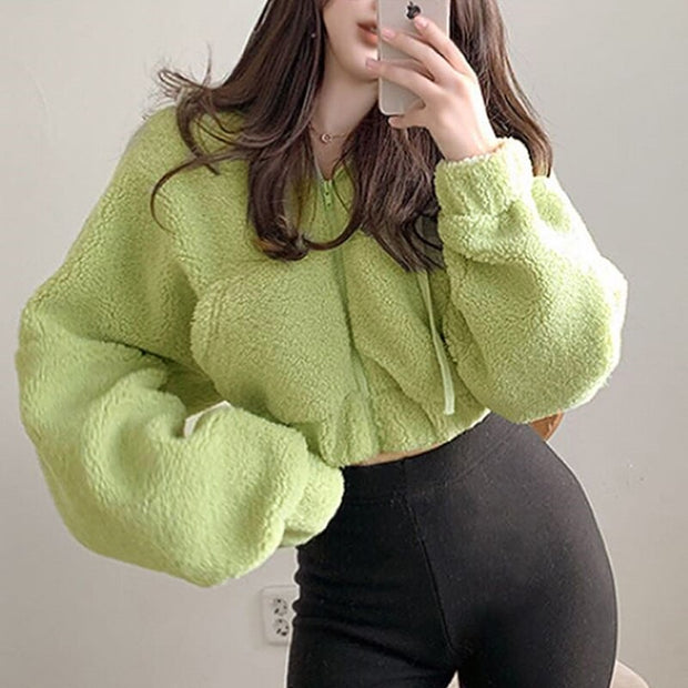 Cropped Hooded Puff Sleeve Jacket