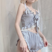 Grey Lingerie Cotton Two Piece Set