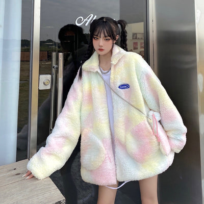 Pastel Faux Fur Oversized Jacket