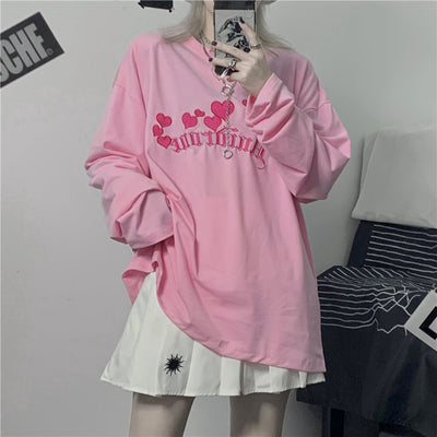 Oversized Pink Graphic Long Sleeve Top