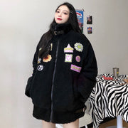 Embroidered Faux Fur Oversized Coat