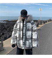 Plaid Faux Fur Collar Oversized Padded Jacket