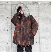 Camouflage Faux Fur Collared Padded Jacket