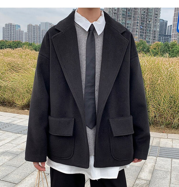 Single Button Wool Trench Coat Blazer