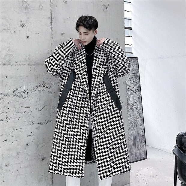 Thick Wool Plaid Long Trench Coat