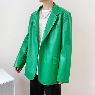 Green PU Leather Blazer