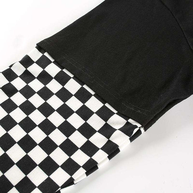 Bella Checkered Flames Oversized Tee T-shirt