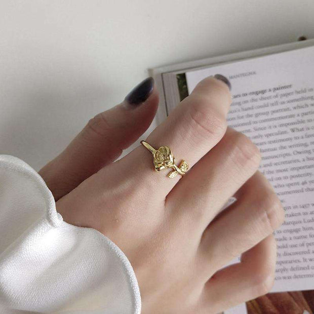 LEUR 925 Sterling Silver Gold Rose Ring