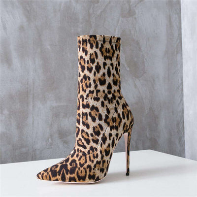 To The Top Leopard Heeled Boots