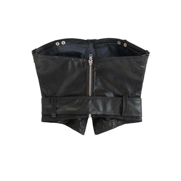 Carley PU Leather Crop Top