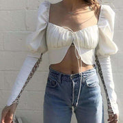 Libby Puffer Sleeve Crop Top