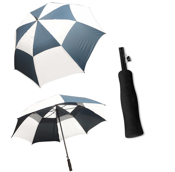 StormMaster Auto Open Double Canopy Umbrella Blue and White
