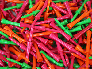 "250 Pack - 3 1/4"" Wood Step Tees - Mixed Neon"