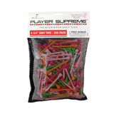 "2 3/4"" Player Supreme Premium Wood Golf Tee - 200 Pack (Neon or Natural)"
