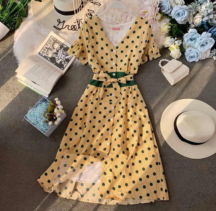 French High Waist Retro Dress