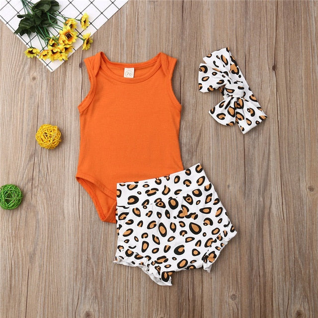 Baby Girl: 3 PC Leopard Print Ensemble